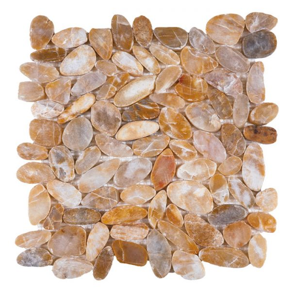 Beige Sliced Polished Pebble Mosaic
