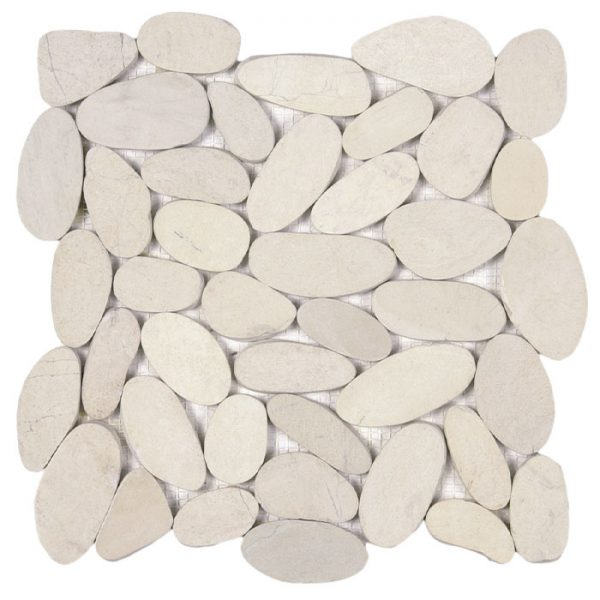 Large White Sliced Pebble Mosaic