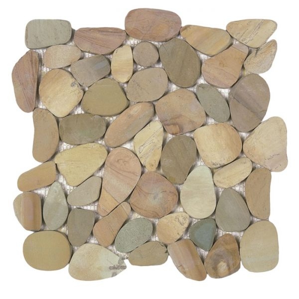 Golden Mix Sliced Pebble Mosaic