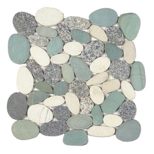 Large Grey/Green/White Sliced Pebble Mosaic