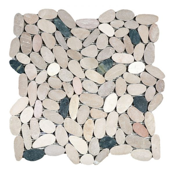 White/Pink/Beige/Black Sliced Pebble Mosaic
