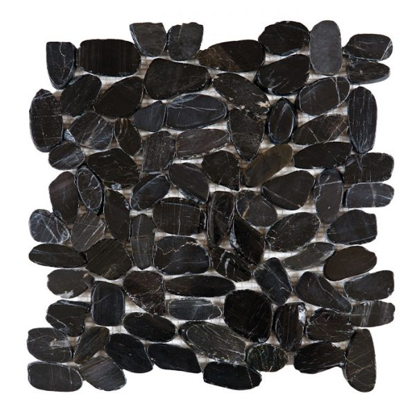 Black Sliced Polished Pebble Mosaic