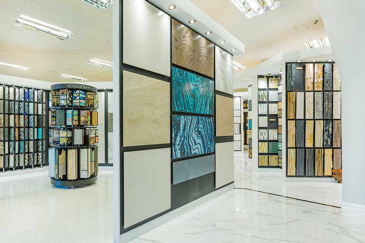 Assorted tile, stone and mosaics displays in Ruben Sorhegui Tile Distributors' Naples, Florida Showroom