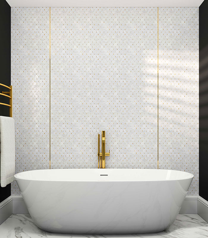 Bathroom accent wall with Golden Pearl Drop Mosaic Tile from Siminetti available at Ruben Sorhegui Tile Distributors Southwest Florida's largest tile, stone and mosaics distributor