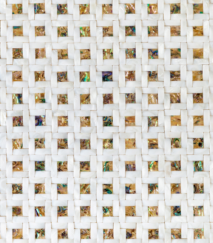 Chique Fabric Mother of Pearl Mosaics from Siminetti available at Ruben Sorhegui Tile Distributors Southwest Florida's largest tile, stone and mosaics distributor