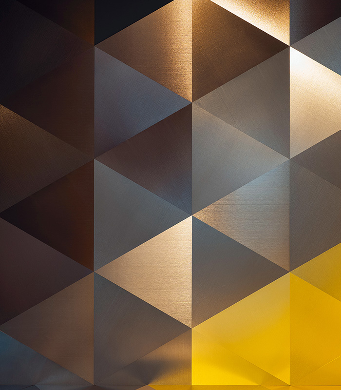 DVNE AluminumPatterns Triangolo available at Ruben Sorhegui Tile Distributors Southwest Florida's largest tile, stone and mosaics distributor