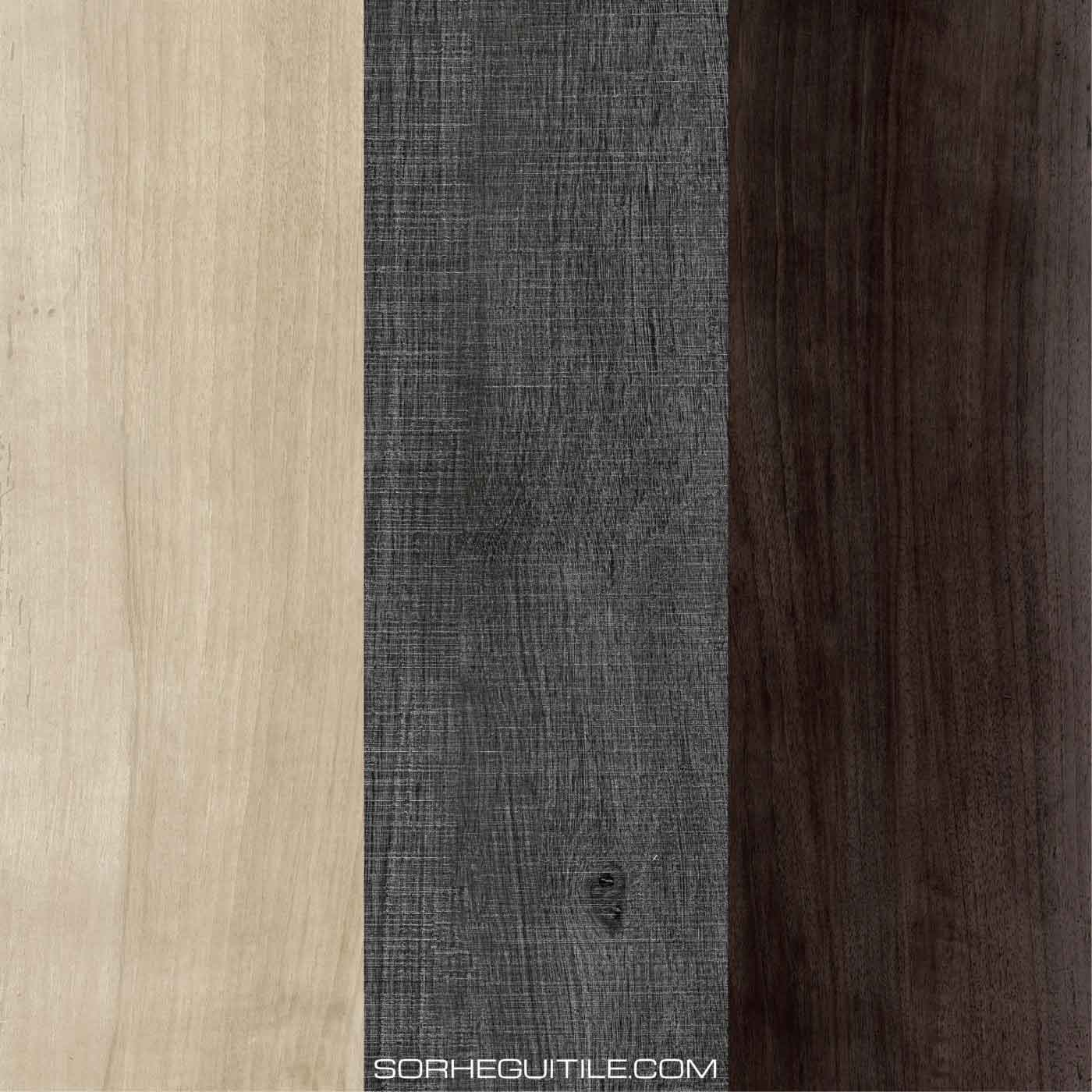 Example swatches of wood porcelain tile available at Ruben Sorhegui Tile Distributors