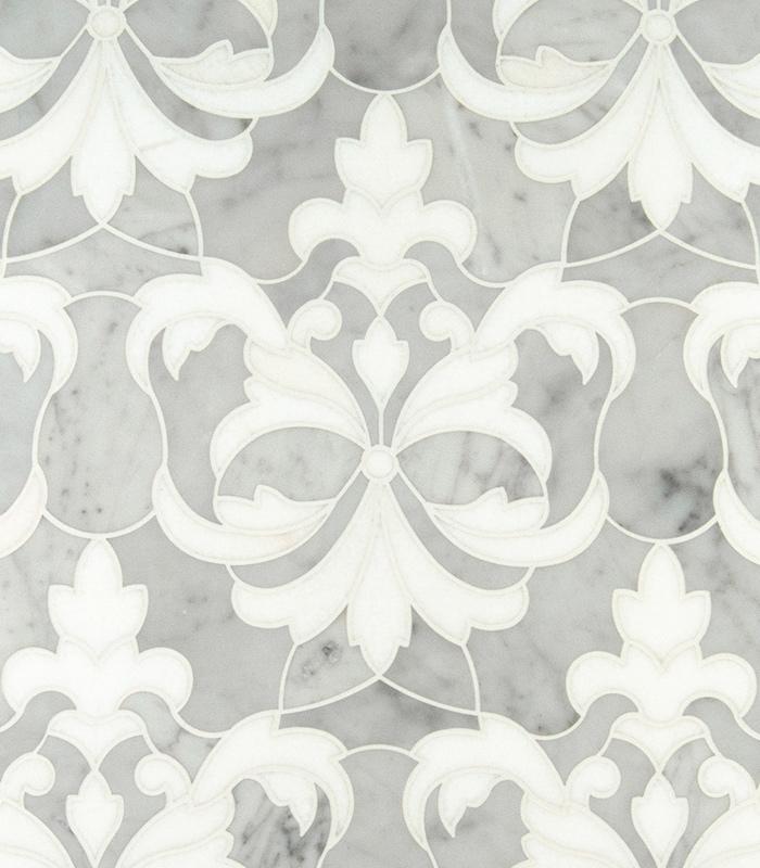 Flower & Leaf Waterjet Mosaic from Ruben Sorhegui Tile Distributors Southwest Florida's largest tile, stone and mosaics distributor