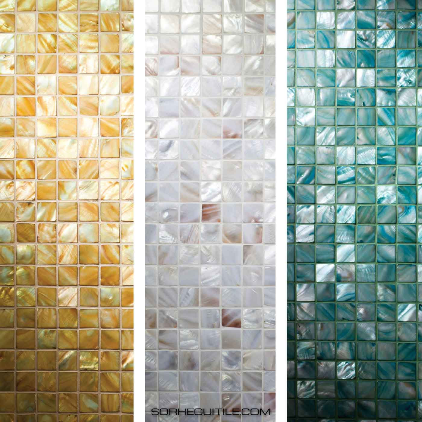 Samples of available Siminetti Mother of Pearl Luxury Pearl Mosaics available at Ruben Sorhegui Tile Distributors in Southwest Florida