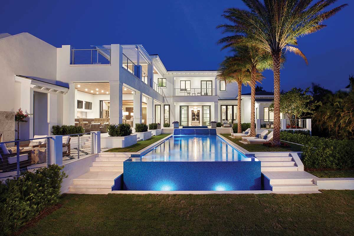 Southwest Florida home pool and outdoor entertaining area with tile, stone and marble from Ruben Sorhegui Tile Distributors | Southwest Florida's premier tile, stone and custom mosaic tile distributor since 1983.