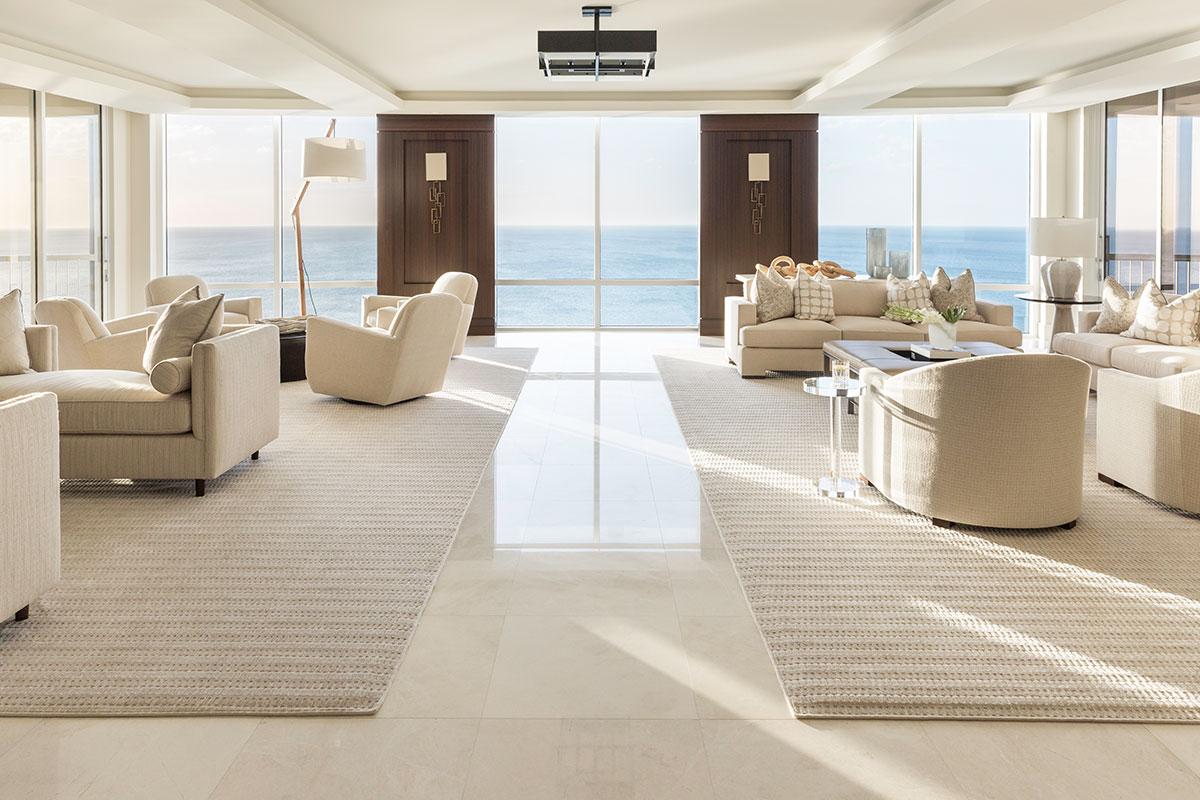 Southwest Florida penthouse home with tile flooring from Ruben Sorhegui Tile Distributors | Southwest Florida's premier tile, stone and custom mosaic tile distributor since 1983.