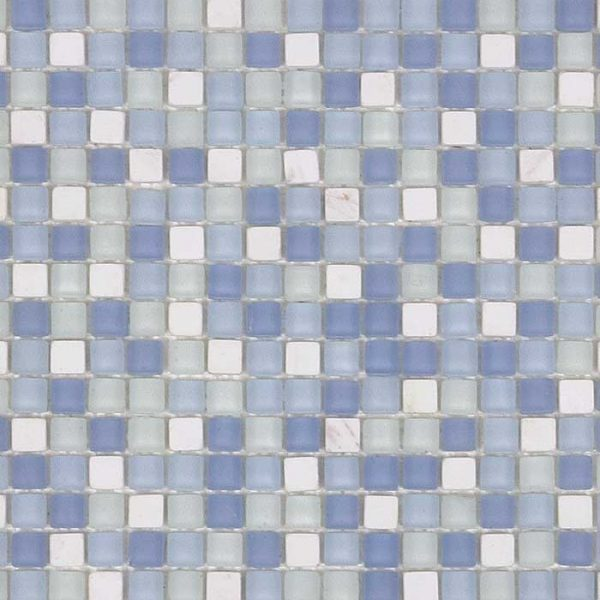 VEMI89 White Marble Grey and Light Blue Glass Mixed Mosaics | Mosaics Products from Ruben Sorhegui Tile Distributors Southwest Florida's largest tile, stone and mosaics distributor